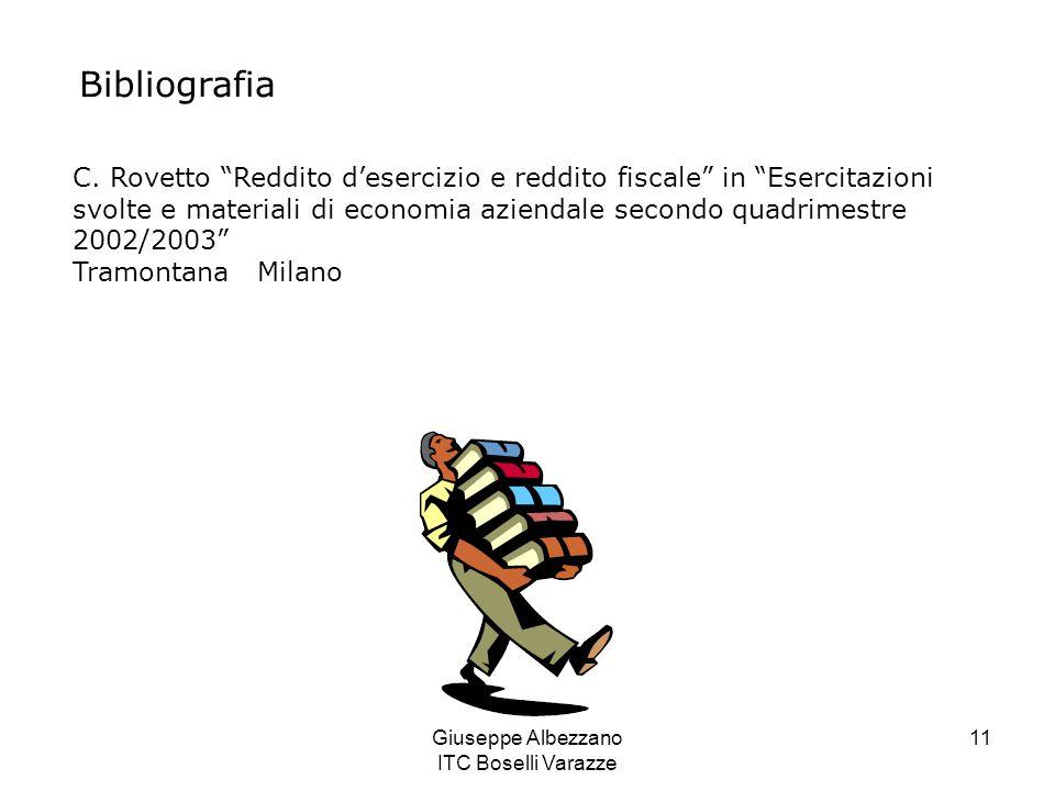 """Giuseppe Albezzano ITC Boselli Varazze 11 Bibliografia C. Rovetto """"Reddito d'esercizio e reddito fiscale"""" in """"Esercitazioni svolte e materiali di econ"""