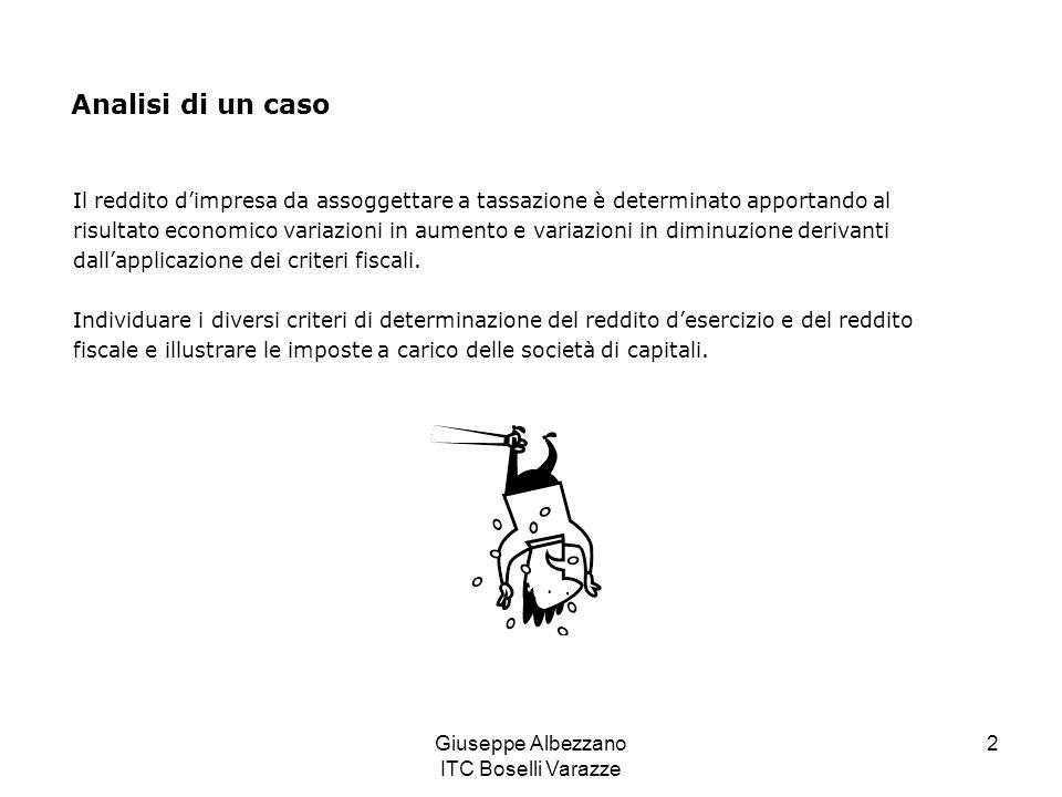 Giuseppe Albezzano ITC Boselli Varazze 2 Analisi di un caso Il reddito d'impresa da assoggettare a tassazione è determinato apportando al risultato ec