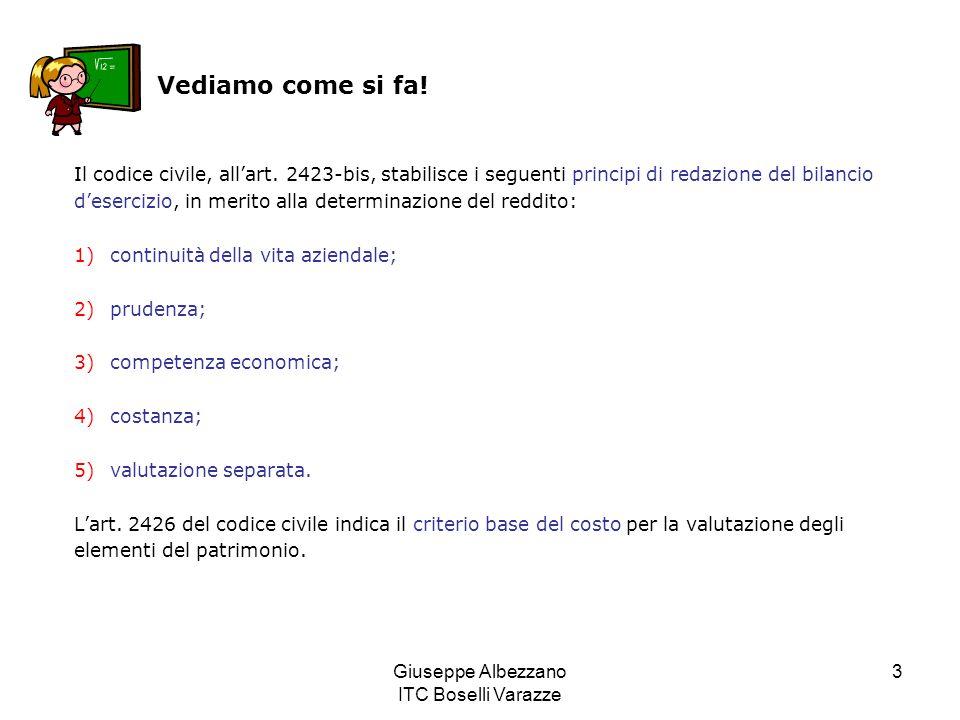 Giuseppe Albezzano ITC Boselli Varazze 3 Vediamo come si fa! Il codice civile, all'art. 2423-bis, stabilisce i seguenti principi di redazione del bila