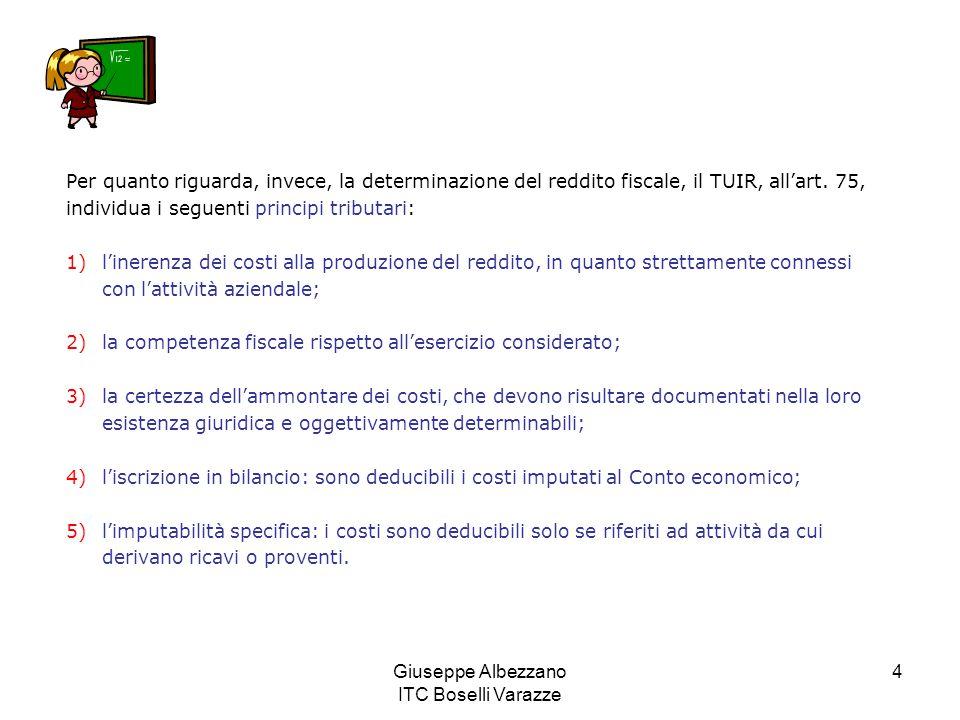 Giuseppe Albezzano ITC Boselli Varazze 4 Per quanto riguarda, invece, la determinazione del reddito fiscale, il TUIR, all'art. 75, individua i seguent