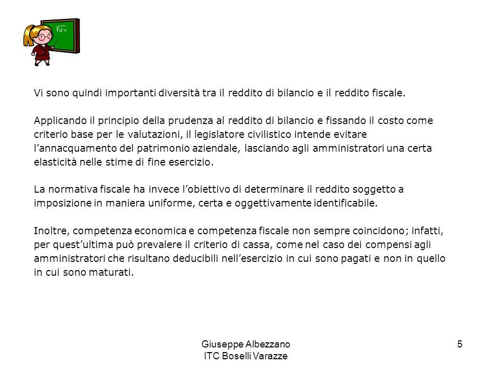 Giuseppe Albezzano ITC Boselli Varazze 5 Vi sono quindi importanti diversità tra il reddito di bilancio e il reddito fiscale. Applicando il principio
