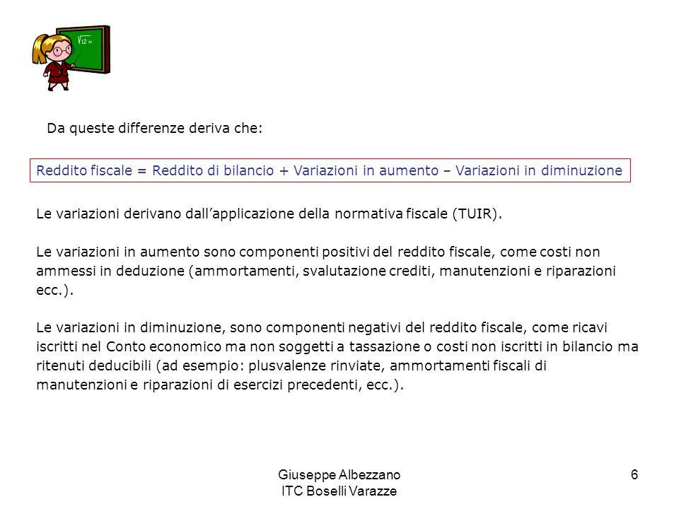 Giuseppe Albezzano ITC Boselli Varazze 6 Da queste differenze deriva che: Reddito fiscale = Reddito di bilancio + Variazioni in aumento – Variazioni i