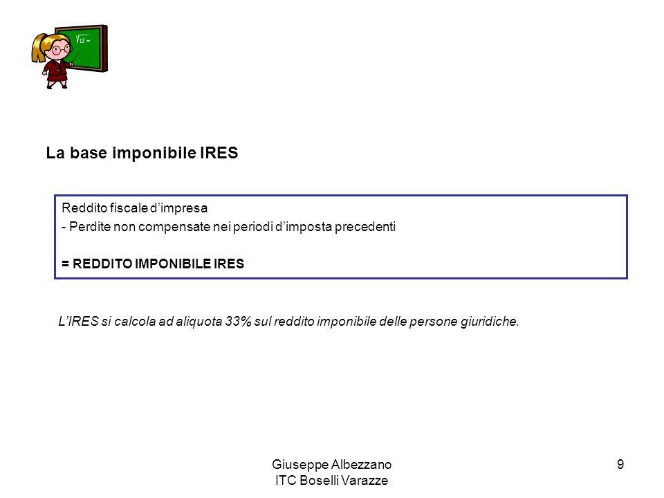 Giuseppe Albezzano ITC Boselli Varazze 9 La base imponibile IRES Reddito fiscale d'impresa - Perdite non compensate nei periodi d'imposta precedenti =
