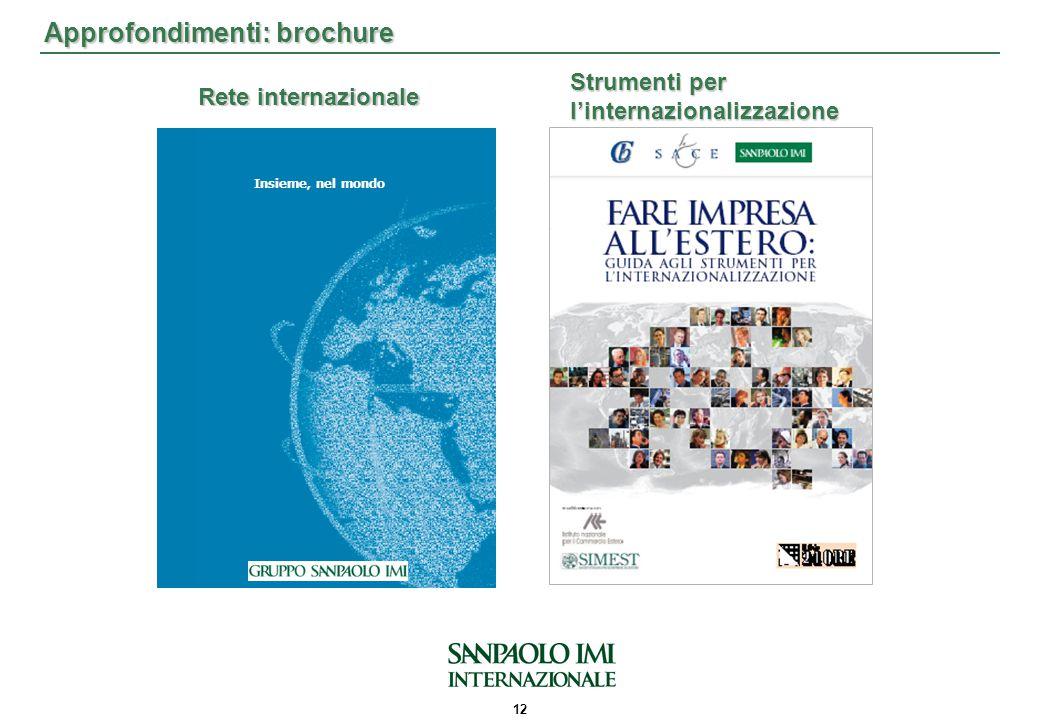 12 Approfondimenti: brochure Rete internazionale Strumenti per l'internazionalizzazione Insieme, nel mondo