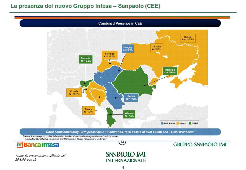 4 La presenza del nuovo Gruppo Intesa – Sanpaolo (CEE) Tratto da presentazione ufficiale del 26.8.06 pag.12