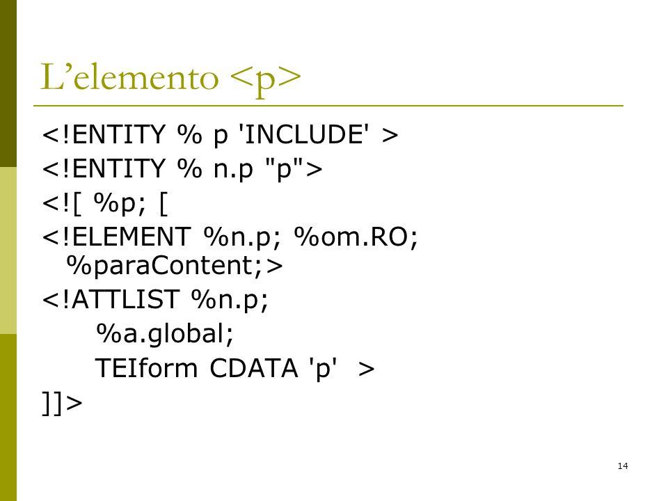 14 L'elemento <![ %p; [ <!ATTLIST %n.p; %a.global; TEIform CDATA p > ]]>