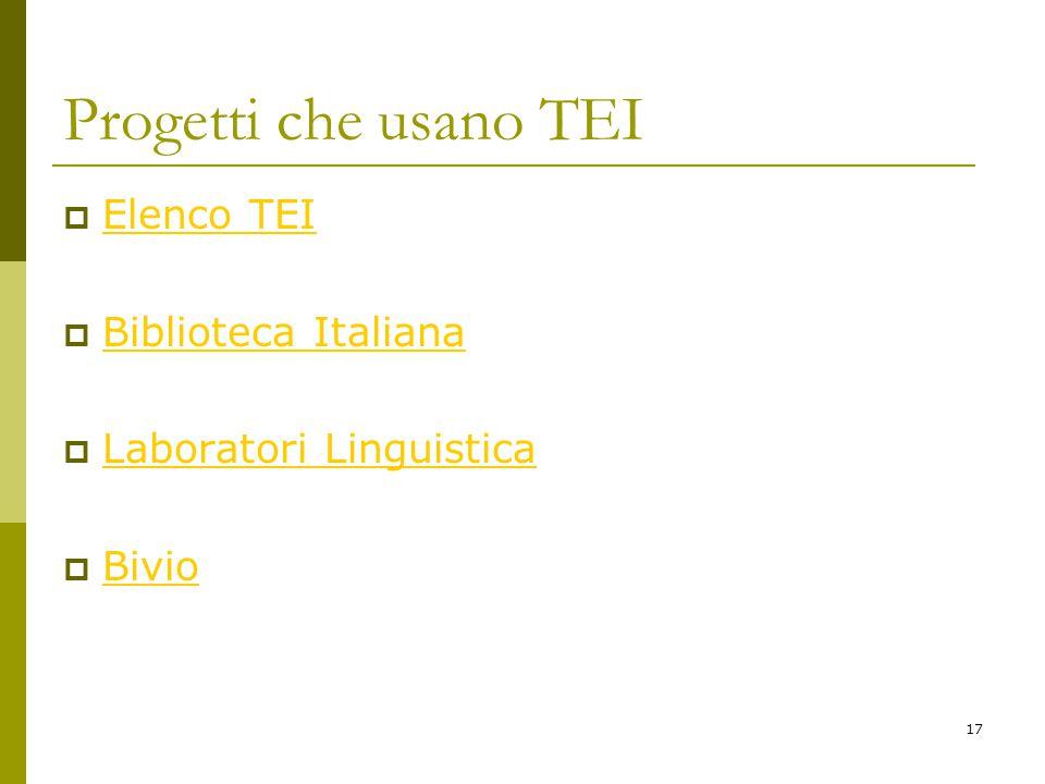 17 Progetti che usano TEI  Elenco TEI Elenco TEI  Biblioteca Italiana Biblioteca Italiana  Laboratori Linguistica Laboratori Linguistica  Bivio Bivio