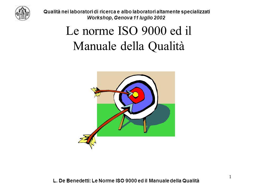 L. De Benedetti: Le Norme ISO 9000 ed il Manuale della Qualità 1 Le norme ISO 9000 ed il Manuale della Qualità Qualità nei laboratori di ricerca e alb
