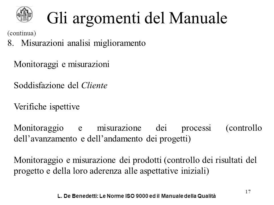 L. De Benedetti: Le Norme ISO 9000 ed il Manuale della Qualità 17 Gli argomenti del Manuale (continua) 8.Misurazioni analisi miglioramento Monitoraggi