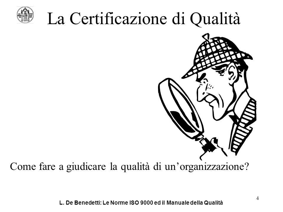L. De Benedetti: Le Norme ISO 9000 ed il Manuale della Qualità 4 La Certificazione di Qualità Come fare a giudicare la qualità di un'organizzazione?