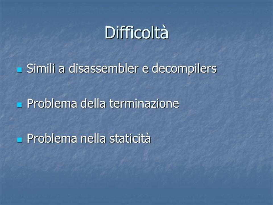 Difficoltà Simili a disassembler e decompilers Simili a disassembler e decompilers Problema della terminazione Problema della terminazione Problema nella staticità Problema nella staticità