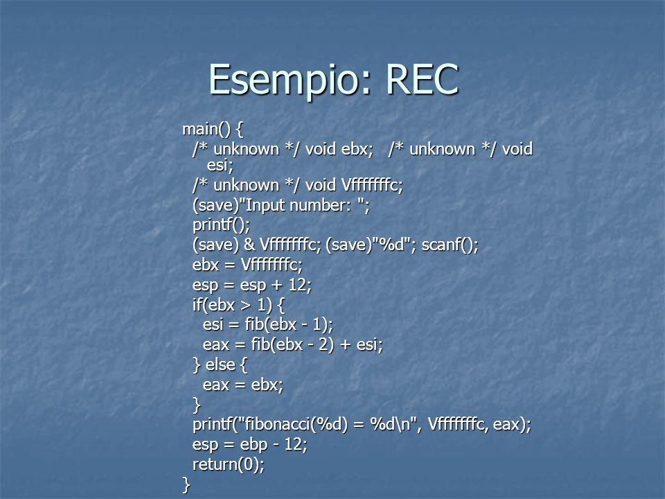 Esempio: REC main() { /* unknown */ void ebx; /* unknown */ void esi; /* unknown */ void ebx; /* unknown */ void esi; /* unknown */ void Vfffffffc; /* unknown */ void Vfffffffc; (save) Input number: ; (save) Input number: ; printf(); printf(); (save) & Vfffffffc; (save) %d ; scanf(); (save) & Vfffffffc; (save) %d ; scanf(); ebx = Vfffffffc; ebx = Vfffffffc; esp = esp + 12; esp = esp + 12; if(ebx > 1) { if(ebx > 1) { esi = fib(ebx - 1); esi = fib(ebx - 1); eax = fib(ebx - 2) + esi; eax = fib(ebx - 2) + esi; } else { } else { eax = ebx; eax = ebx; } printf( fibonacci(%d) = %d\n , Vfffffffc, eax); printf( fibonacci(%d) = %d\n , Vfffffffc, eax); esp = ebp - 12; esp = ebp - 12; return(0); return(0);}