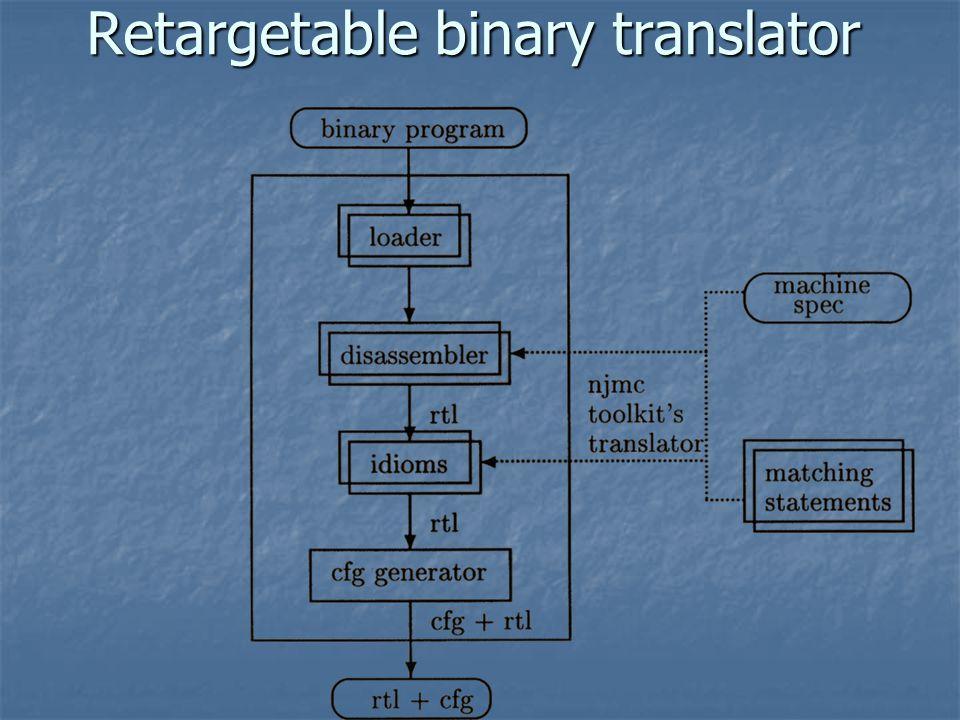 Retargetable binary translator