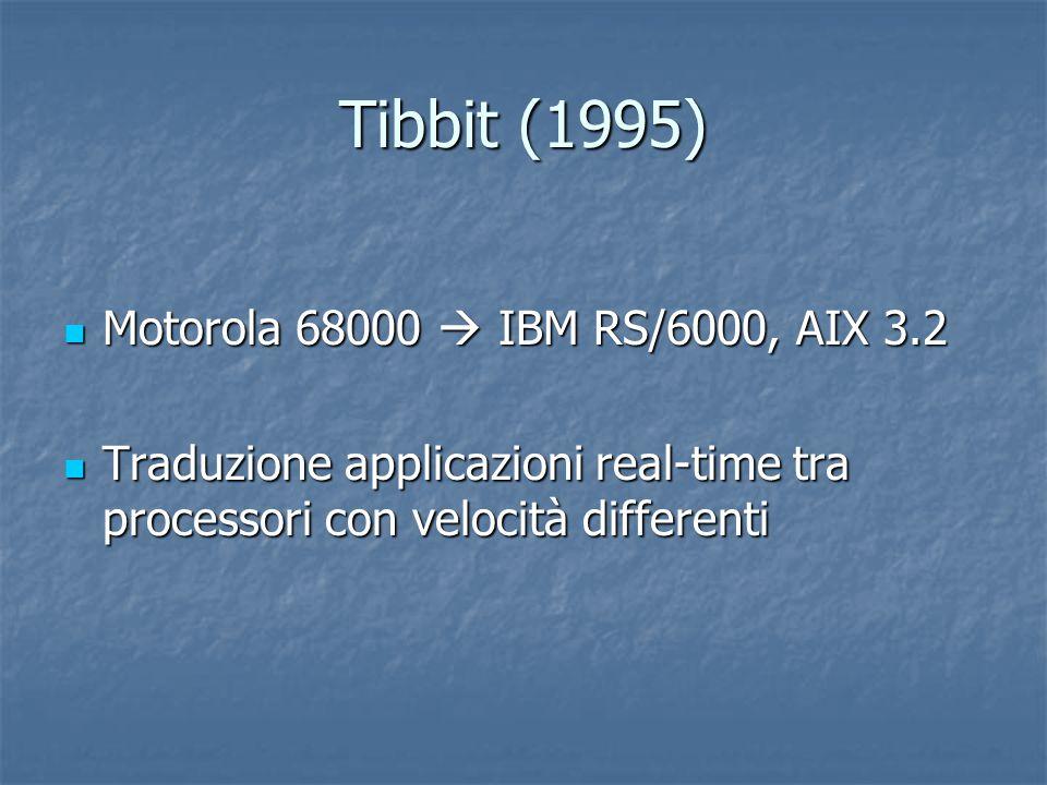 Tibbit (1995) Motorola 68000  IBM RS/6000, AIX 3.2 Motorola 68000  IBM RS/6000, AIX 3.2 Traduzione applicazioni real-time tra processori con velocità differenti Traduzione applicazioni real-time tra processori con velocità differenti