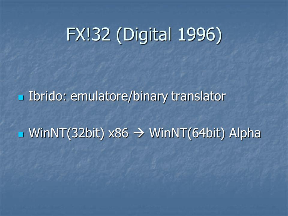 FX!32 (Digital 1996) Ibrido: emulatore/binary translator Ibrido: emulatore/binary translator WinNT(32bit) x86  WinNT(64bit) Alpha WinNT(32bit) x86  WinNT(64bit) Alpha