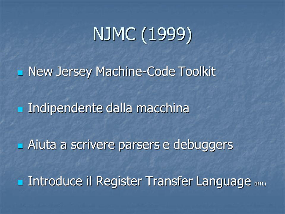 NJMC (1999) New Jersey Machine-Code Toolkit New Jersey Machine-Code Toolkit Indipendente dalla macchina Indipendente dalla macchina Aiuta a scrivere p
