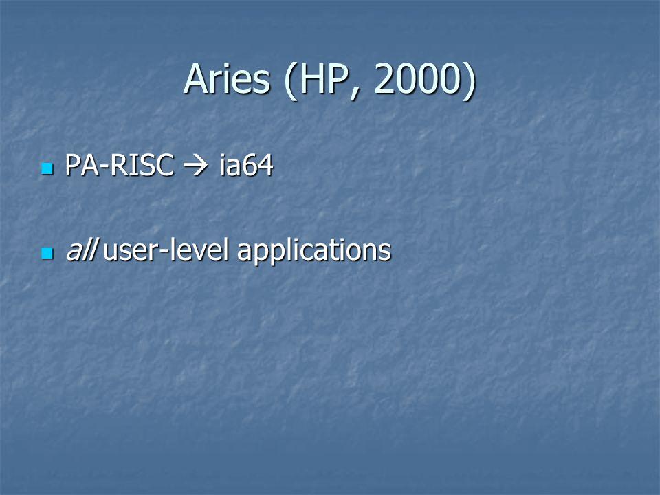 Aries (HP, 2000) PA-RISC  ia64 PA-RISC  ia64 all user-level applications all user-level applications