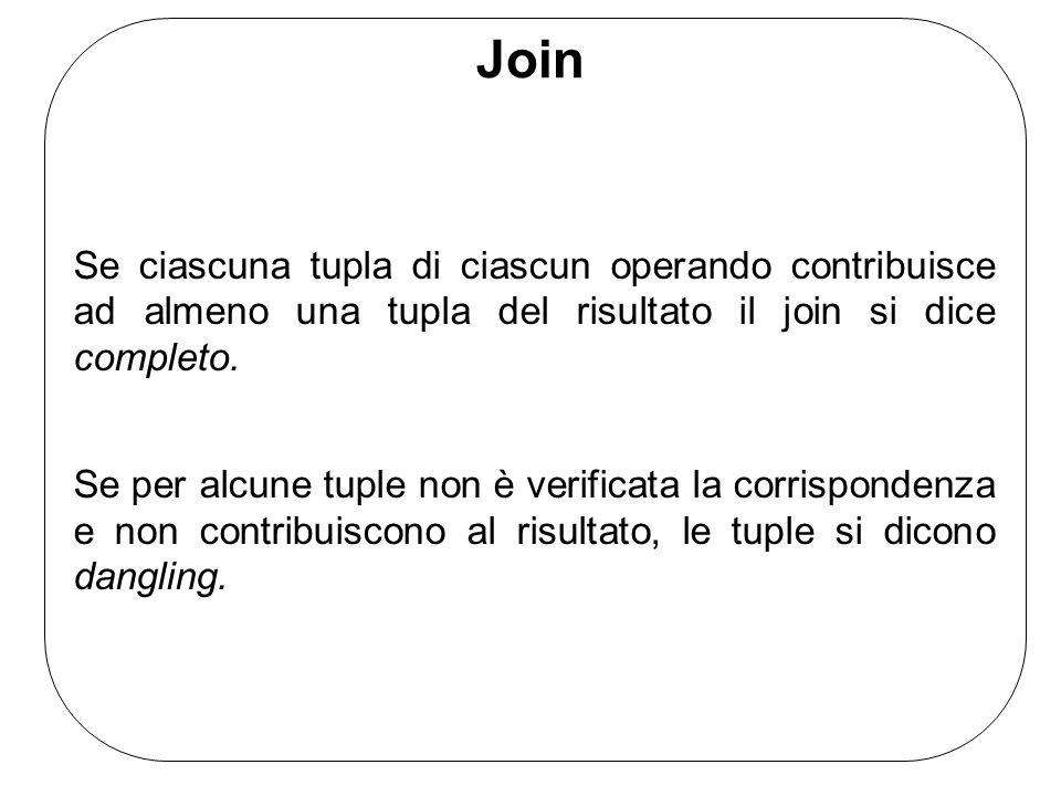 Join Se ciascuna tupla di ciascun operando contribuisce ad almeno una tupla del risultato il join si dice completo. Se per alcune tuple non è verifica