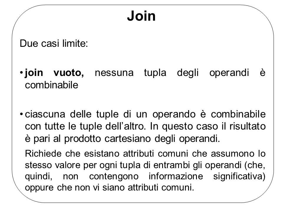Join Join sinistro (left join) Contribuiscono tutte le tuple del primo operando, eventualmente estese con valori nulli Join destro (right join) Contribuiscono tutte le tuple del secondo operando, eventualmente estese con valori nulli Join completo (full join) Contribuiscono tutte le tuple del primo e del secondo operando, eventualmente estese con valori nulli