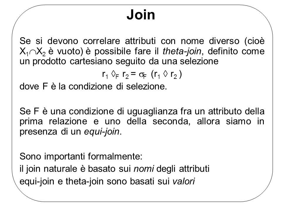 Join Se si devono correlare attributi con nome diverso (cioè X 1  X 2 è vuoto) è possibile fare il theta-join, definito come un prodotto cartesiano seguito da una selezione r 1  F r 2 =  F (r 1  r 2 ) dove F è la condizione di selezione.