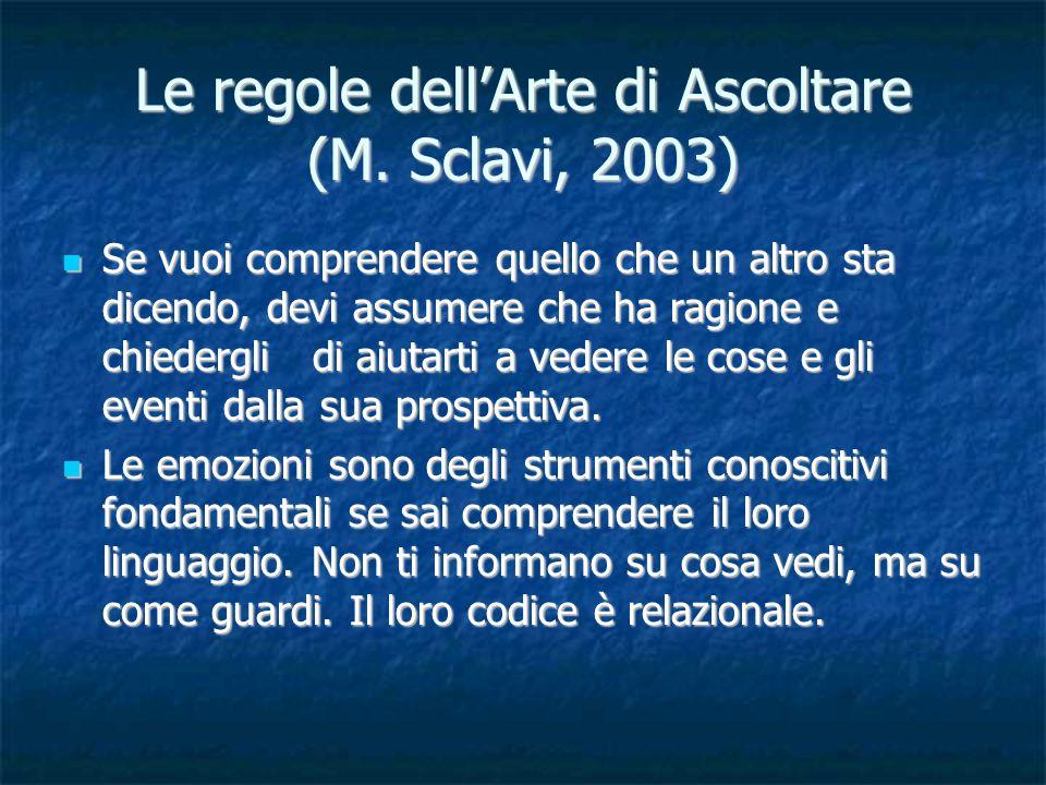 Le regole dell'Arte di Ascoltare (M. Sclavi, 2003) Se vuoi comprendere quello che un altro sta dicendo, devi assumere che ha ragione e chiedergli di a