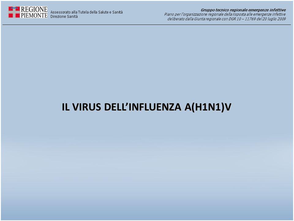 Gruppo tecnico regionale emergenze infettive Piano per l'organizzazione regionale della risposta alle emergenze infettive deliberato dalla Giunta regionale con DGR 10 – 11769 del 20 luglio 2009 Assessorato alla Tutela della Salute e Sanità Direzione Sanità IL VIRUS DELL'INFLUENZA A(H1N1)V