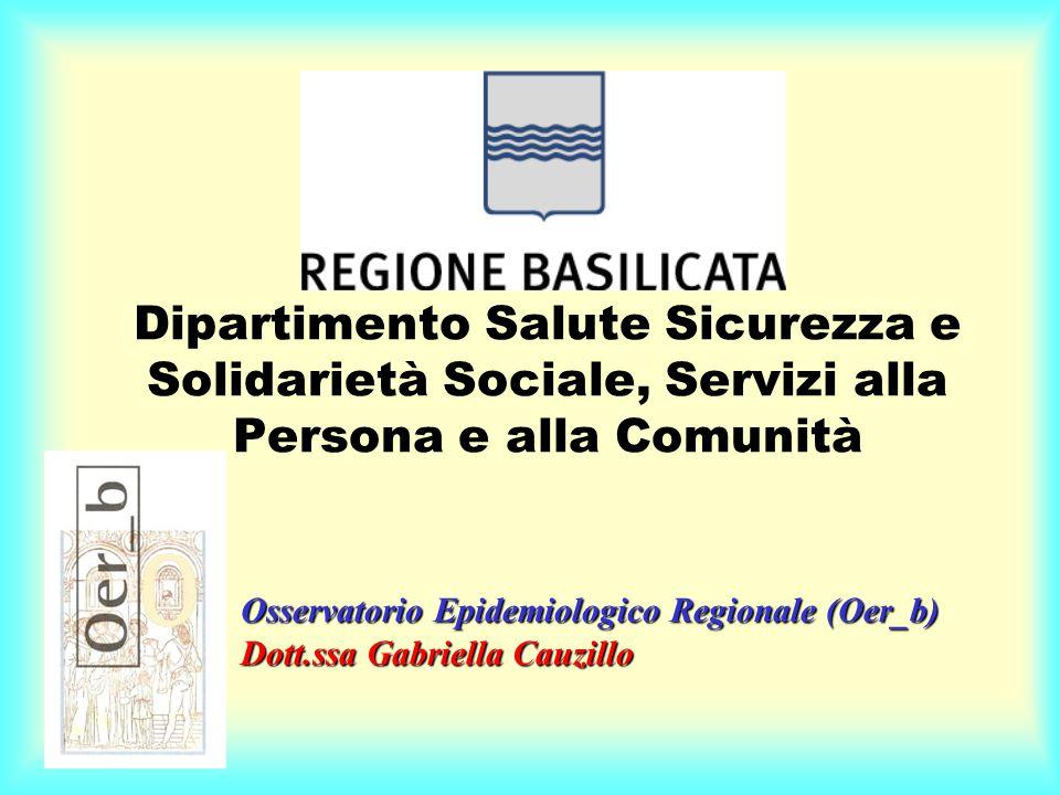 Dipartimento Salute Sicurezza e Solidarietà Sociale, Servizi alla Persona e alla Comunità Osservatorio Epidemiologico Regionale (Oer_b) Dott.ssa Gabriella Cauzillo