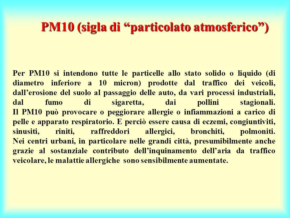 Per PM10 si intendono tutte le particelle allo stato solido o liquido (di diametro inferiore a 10 micron) prodotte dal traffico dei veicoli, dall'erosione del suolo al passaggio delle auto, da vari processi industriali, dal fumo di sigaretta, dai pollini stagionali.