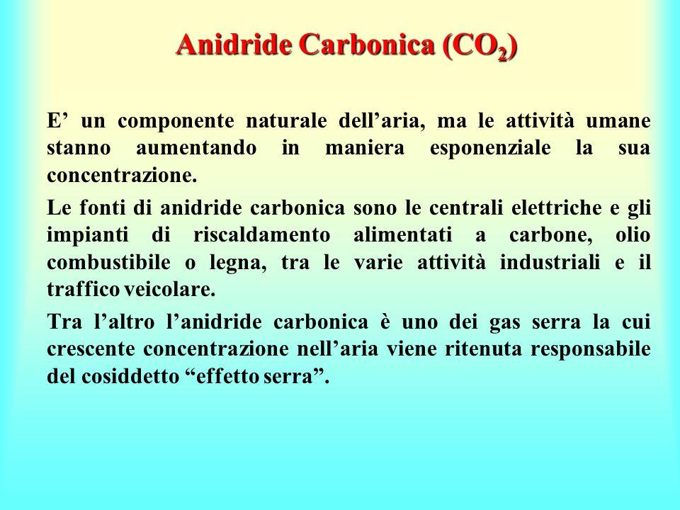Anidride Carbonica (CO 2 ) E' un componente naturale dell'aria, ma le attività umane stanno aumentando in maniera esponenziale la sua concentrazione.
