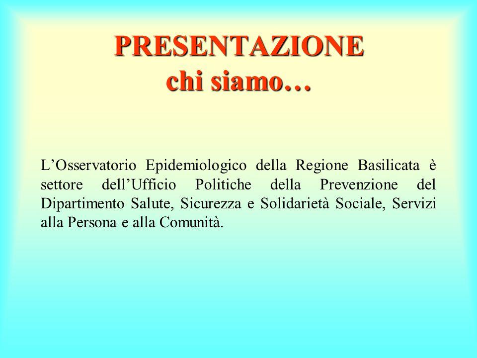 PRESENTAZIONE chi siamo… L'Osservatorio Epidemiologico della Regione Basilicata è settore dell'Ufficio Politiche della Prevenzione del Dipartimento Salute, Sicurezza e Solidarietà Sociale, Servizi alla Persona e alla Comunità.