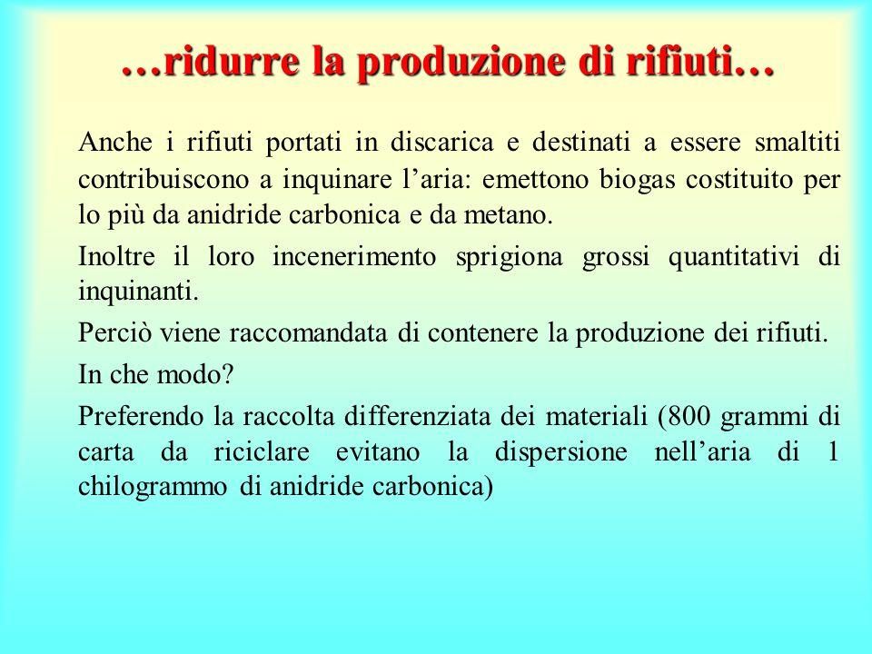 …ridurre la produzione di rifiuti… Anche i rifiuti portati in discarica e destinati a essere smaltiti contribuiscono a inquinare l'aria: emettono biogas costituito per lo più da anidride carbonica e da metano.