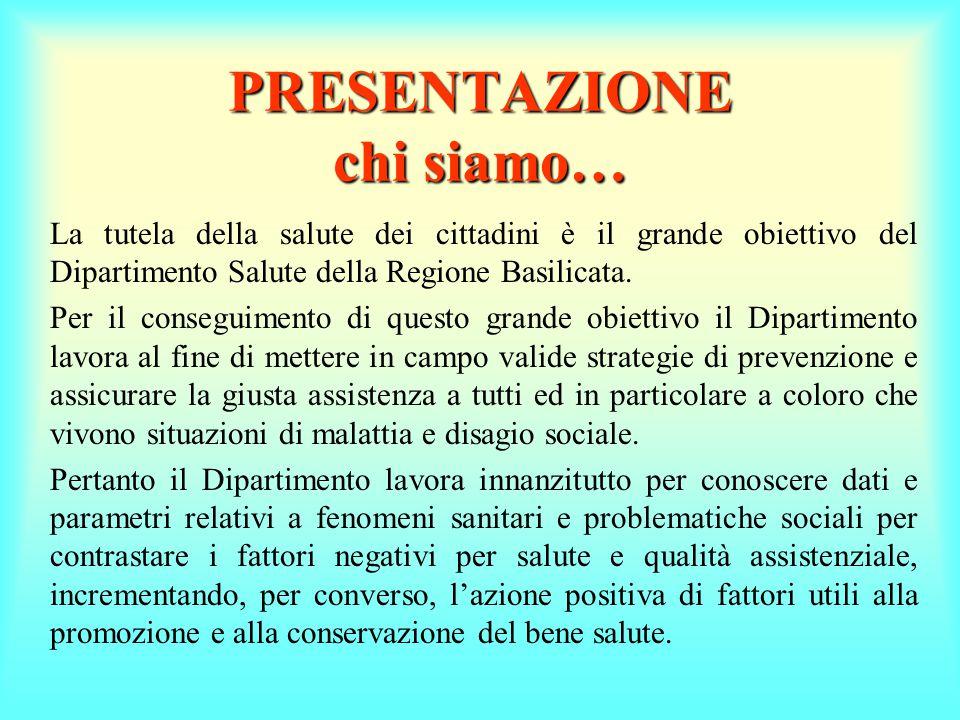 PRESENTAZIONE chi siamo… La tutela della salute dei cittadini è il grande obiettivo del Dipartimento Salute della Regione Basilicata.