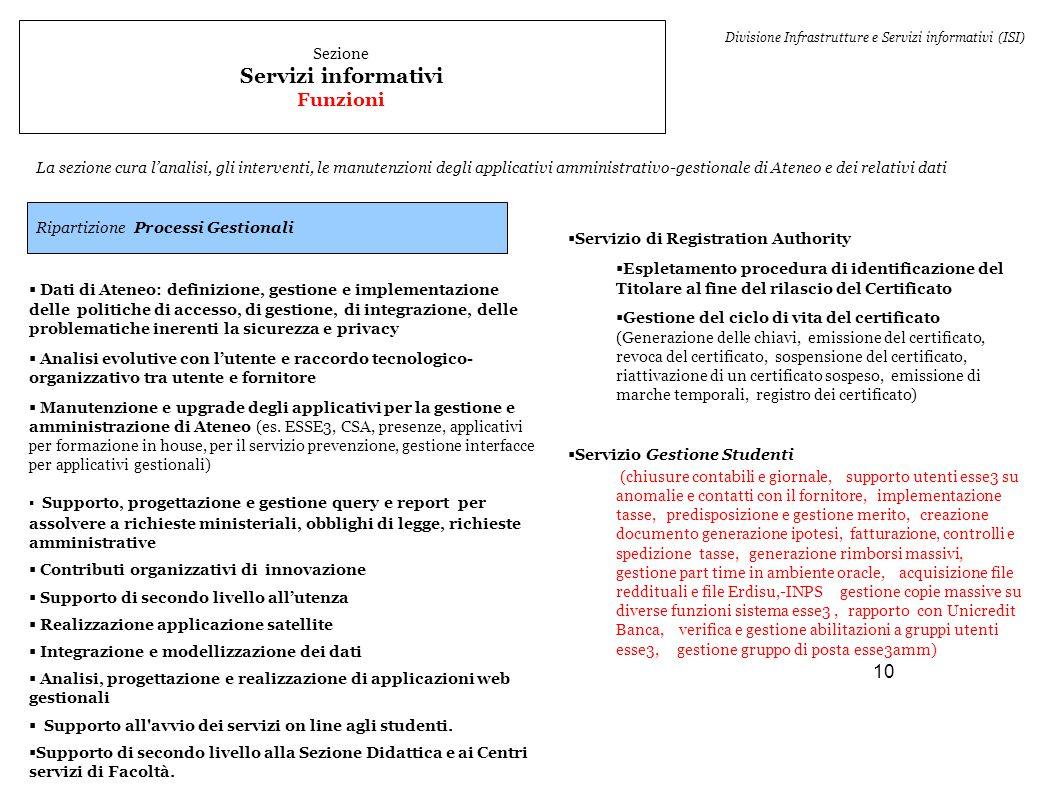 10 Sezione Servizi informativi Funzioni La sezione cura l'analisi, gli interventi, le manutenzioni degli applicativi amministrativo-gestionale di Aten