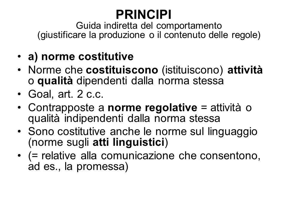 PRINCIPI Guida indiretta del comportamento (giustificare la produzione o il contenuto delle regole) a) norme costitutive Norme che costituiscono (istituiscono) attività o qualità dipendenti dalla norma stessa Goal, art.