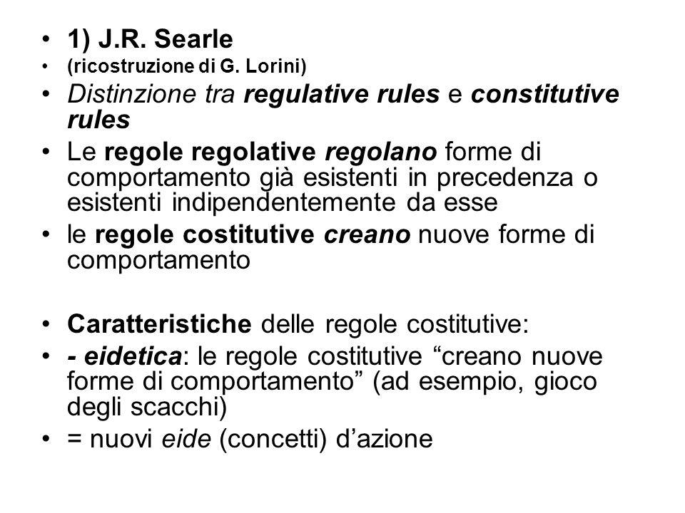 1) J.R. Searle (ricostruzione di G. Lorini) Distinzione tra regulative rules e constitutive rules Le regole regolative regolano forme di comportamento