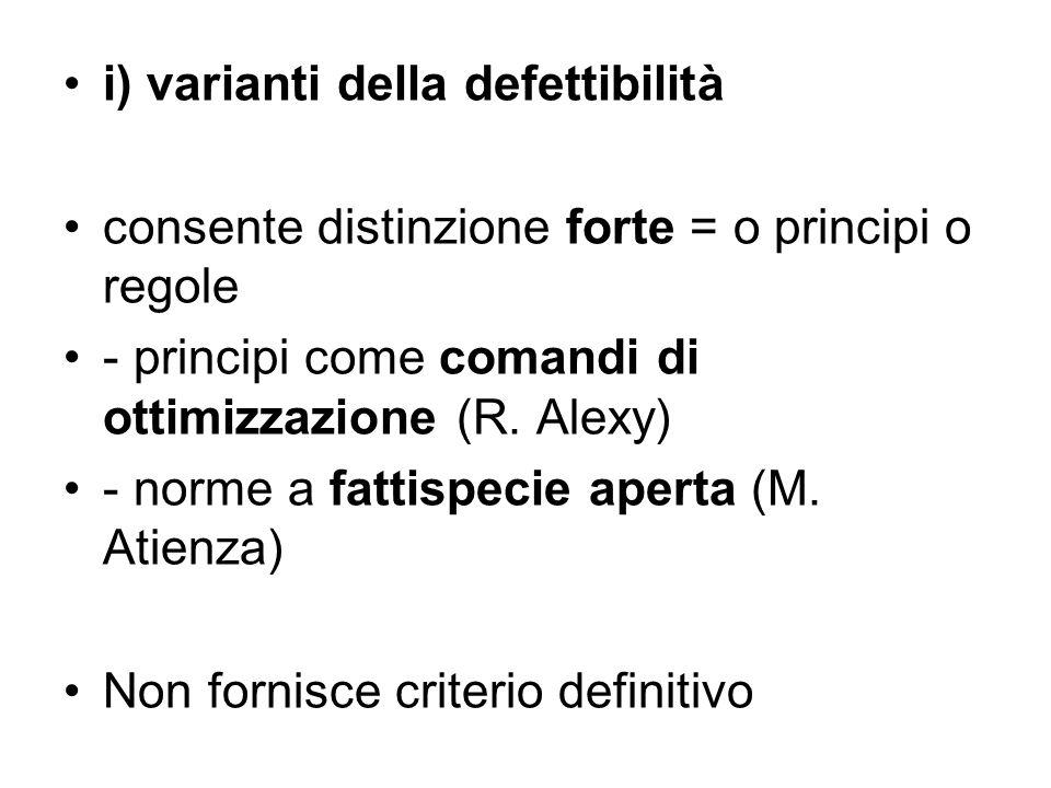 i) varianti della defettibilità consente distinzione forte = o principi o regole - principi come comandi di ottimizzazione (R. Alexy) - norme a fattis
