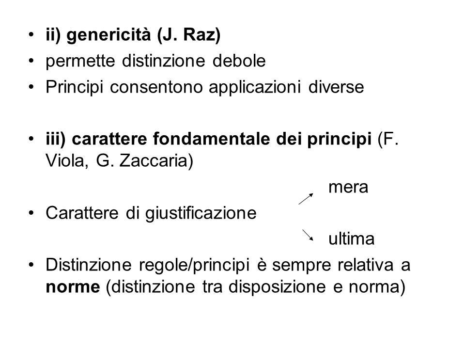 ii) genericità (J. Raz) permette distinzione debole Principi consentono applicazioni diverse iii) carattere fondamentale dei principi (F. Viola, G. Za
