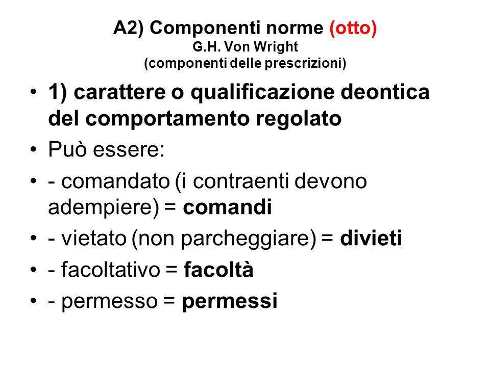 A2) Componenti norme (otto) G.H. Von Wright (componenti delle prescrizioni) 1) carattere o qualificazione deontica del comportamento regolato Può esse