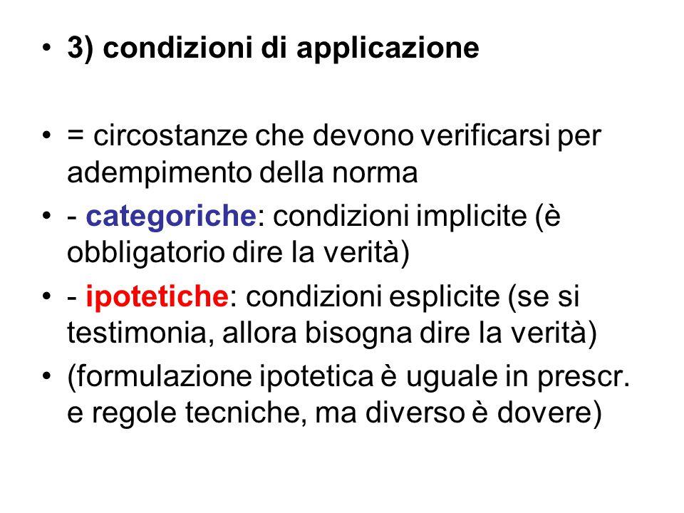 3) condizioni di applicazione = circostanze che devono verificarsi per adempimento della norma - categoriche: condizioni implicite (è obbligatorio dir