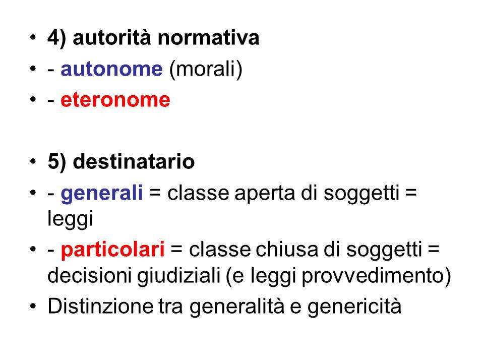 4) autorità normativa - autonome (morali) - eteronome 5) destinatario - generali = classe aperta di soggetti = leggi - particolari = classe chiusa di soggetti = decisioni giudiziali (e leggi provvedimento) Distinzione tra generalità e genericità