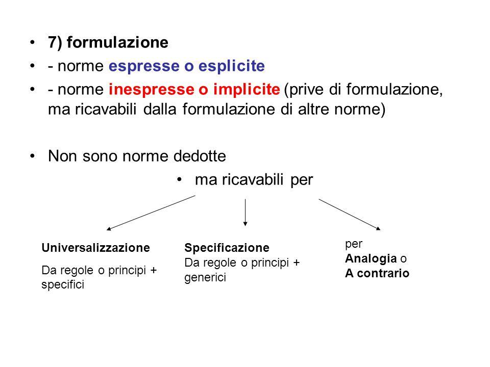 7) formulazione - norme espresse o esplicite - norme inespresse o implicite (prive di formulazione, ma ricavabili dalla formulazione di altre norme) N