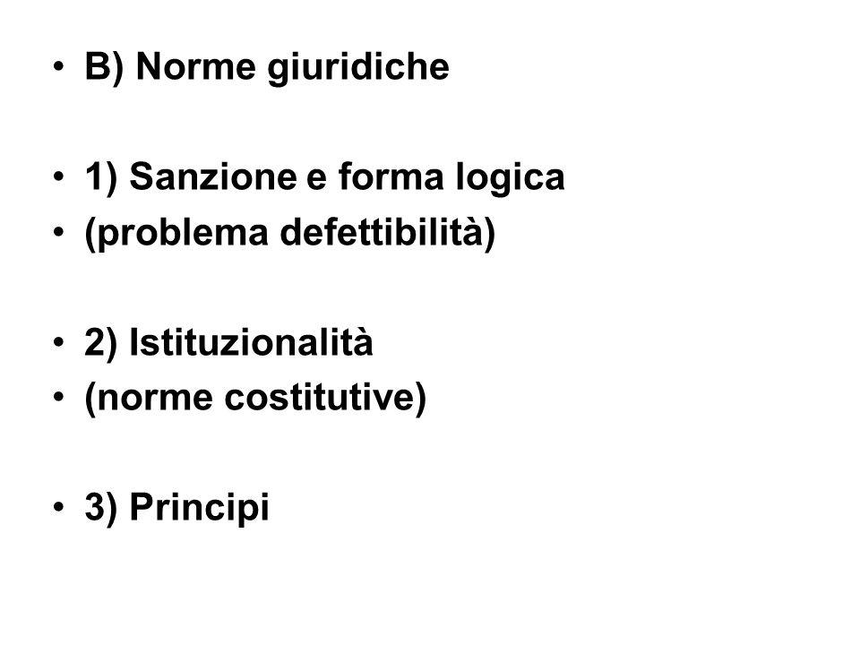 B) Norme giuridiche 1) Sanzione e forma logica (problema defettibilità) 2) Istituzionalità (norme costitutive) 3) Principi