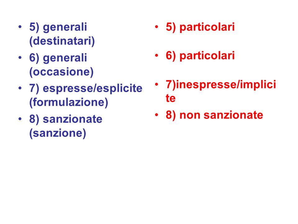 5) generali (destinatari) 6) generali (occasione) 7) espresse/esplicite (formulazione) 8) sanzionate (sanzione) 5) particolari 6) particolari 7)inespresse/implici te 8) non sanzionate