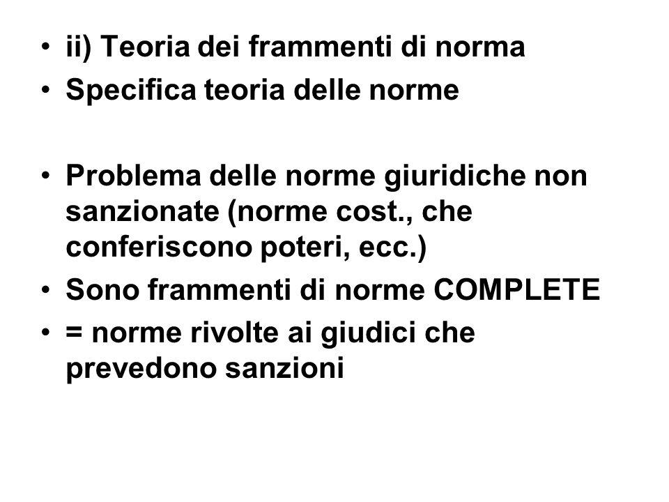 ii) Teoria dei frammenti di norma Specifica teoria delle norme Problema delle norme giuridiche non sanzionate (norme cost., che conferiscono poteri, e