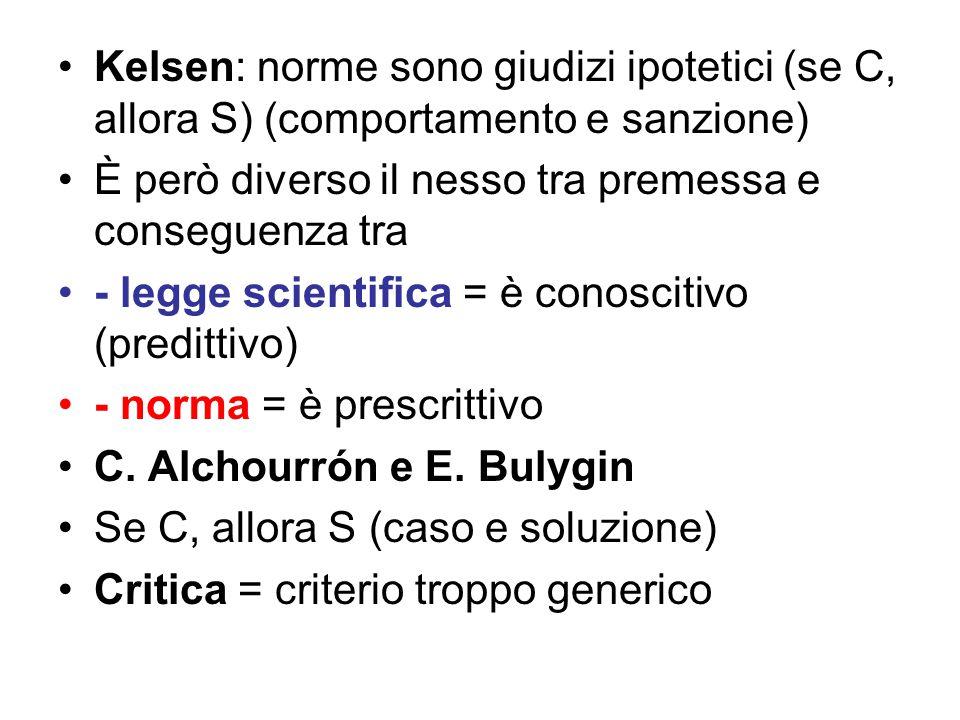 Kelsen: norme sono giudizi ipotetici (se C, allora S) (comportamento e sanzione) È però diverso il nesso tra premessa e conseguenza tra - legge scientifica = è conoscitivo (predittivo) - norma = è prescrittivo C.