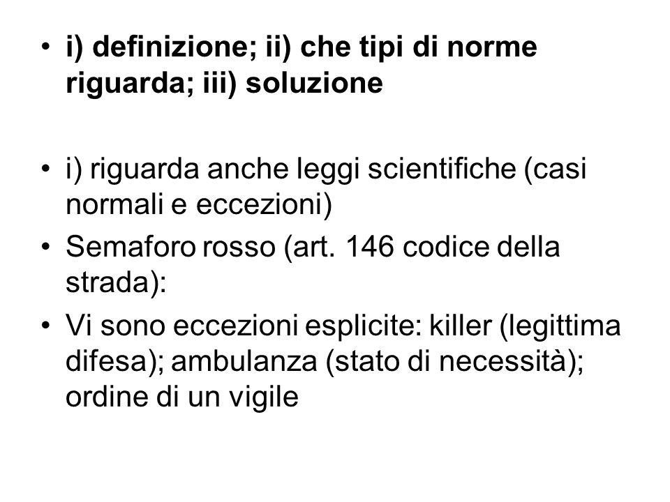 i) definizione; ii) che tipi di norme riguarda; iii) soluzione i) riguarda anche leggi scientifiche (casi normali e eccezioni) Semaforo rosso (art. 14