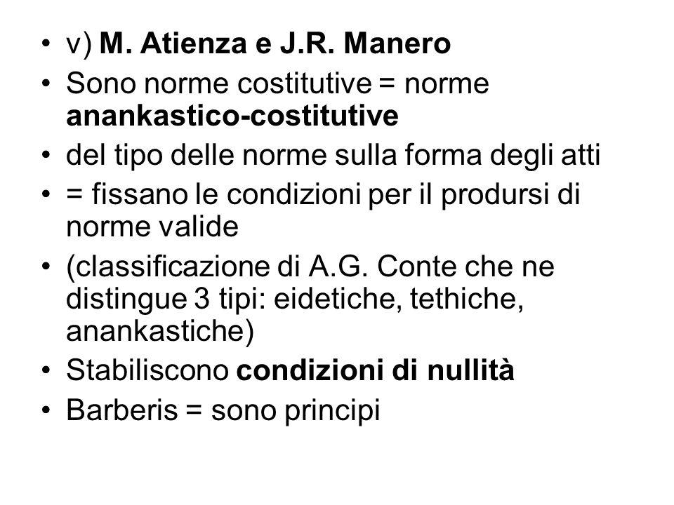 v) M. Atienza e J.R. Manero Sono norme costitutive = norme anankastico-costitutive del tipo delle norme sulla forma degli atti = fissano le condizioni