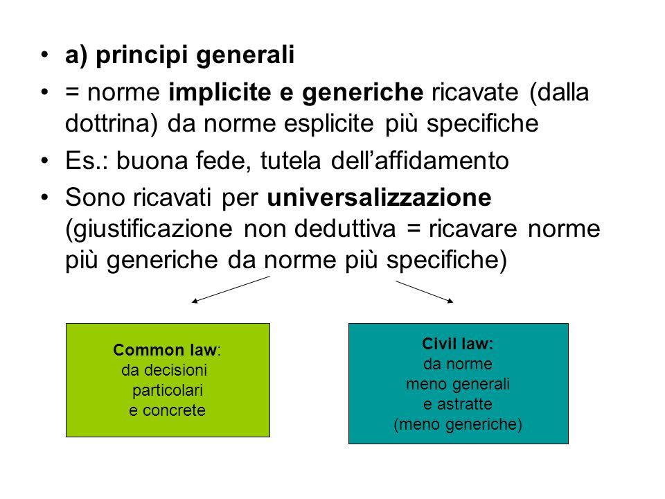 a) principi generali = norme implicite e generiche ricavate (dalla dottrina) da norme esplicite più specifiche Es.: buona fede, tutela dell'affidament