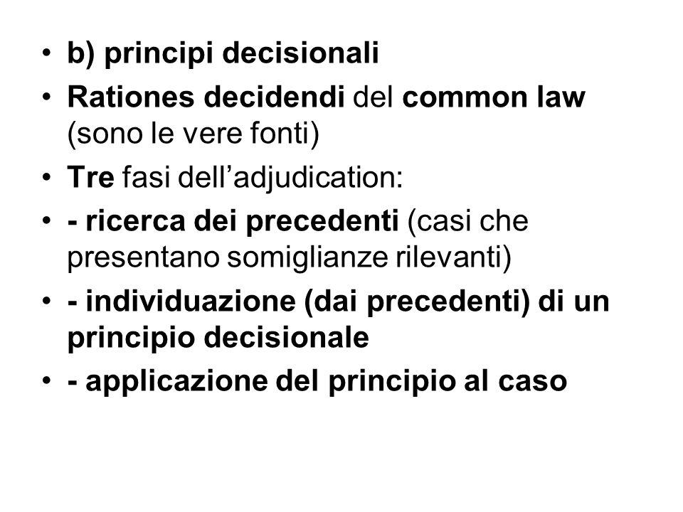 b) principi decisionali Rationes decidendi del common law (sono le vere fonti) Tre fasi dell'adjudication: - ricerca dei precedenti (casi che presentano somiglianze rilevanti) - individuazione (dai precedenti) di un principio decisionale - applicazione del principio al caso