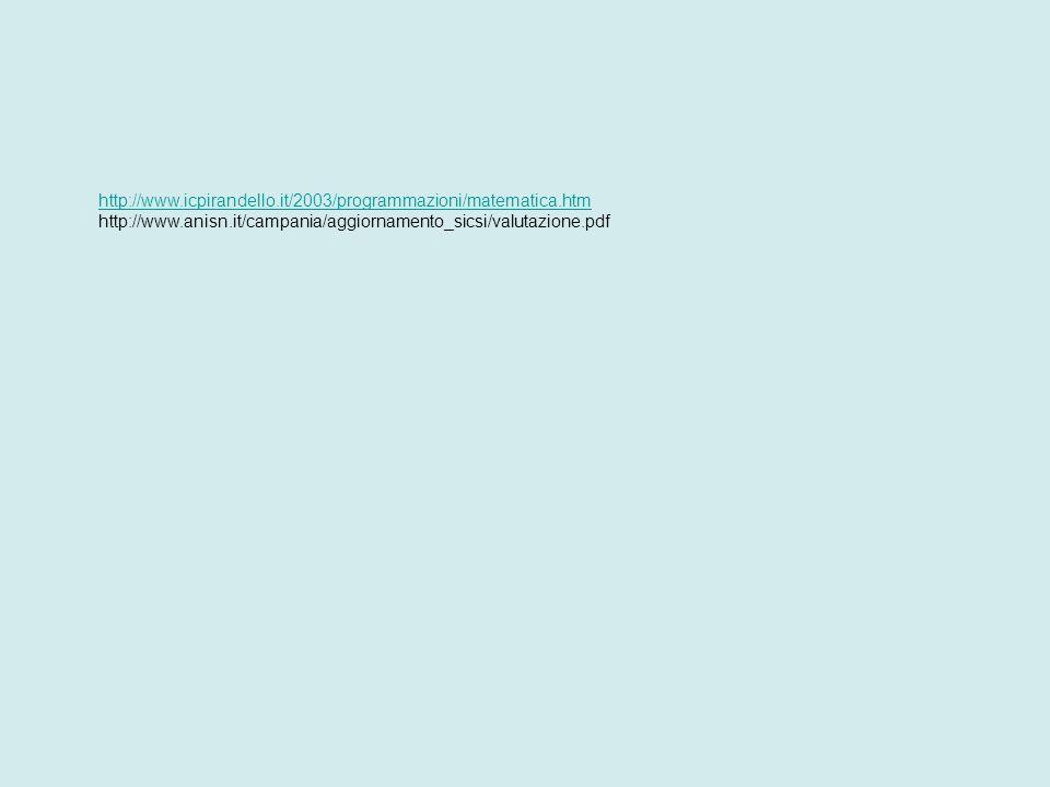 http://www.icpirandello.it/2003/programmazioni/matematica.htm http://www.anisn.it/campania/aggiornamento_sicsi/valutazione.pdf